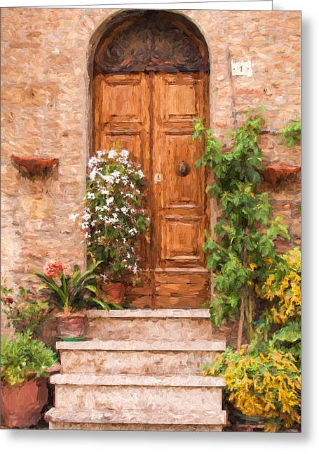 Kitchen Photos Paintings Greeting Cards - Brown Door of Tuscany Greeting Card by David Letts