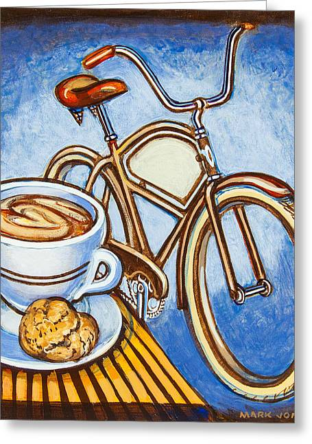 Biscotti Greeting Cards - Brown Electra delivery bicycle coffee and amaretti Greeting Card by Mark Howard Jones