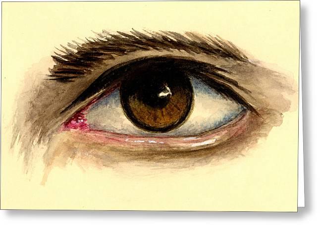 Brown Eyes Greeting Cards - Brown Eye Greeting Card by Michael Vigliotti