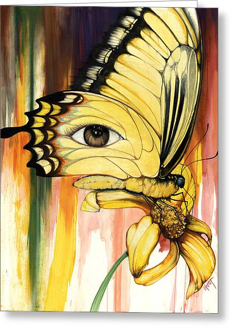 African-american Mixed Media Greeting Cards - Brown Eyes Butterfly Greeting Card by Anthony Burks Sr