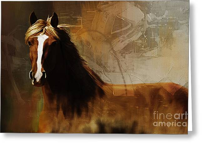 Michelle Greeting Cards - Brown Horse Pose Greeting Card by Gull Nawaz