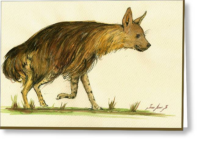 Safari Prints Greeting Cards - Brown hyena animal art Greeting Card by Juan  Bosco