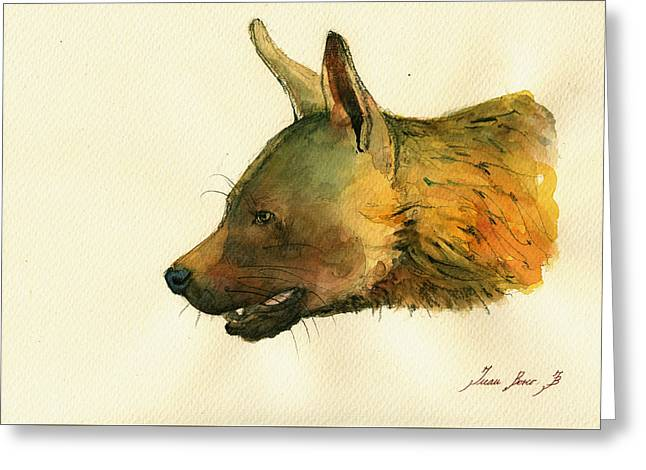 Safari Prints Greeting Cards - Brown hyena Greeting Card by Juan  Bosco