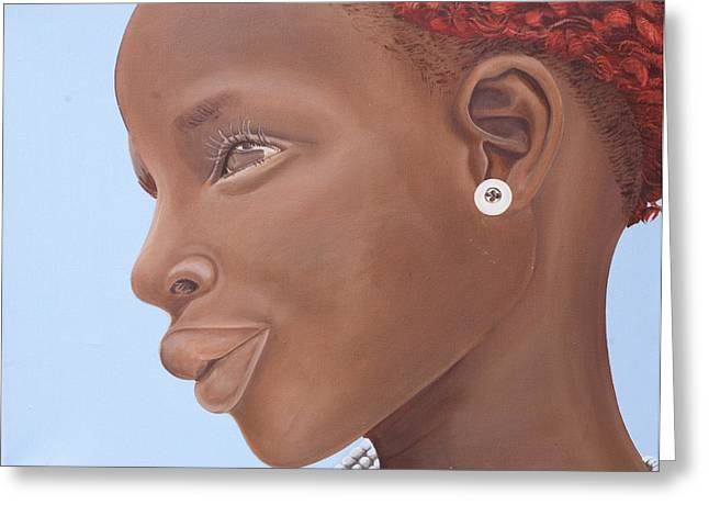 Youthful Greeting Cards - Brown Introspection Greeting Card by Kaaria Mucherera