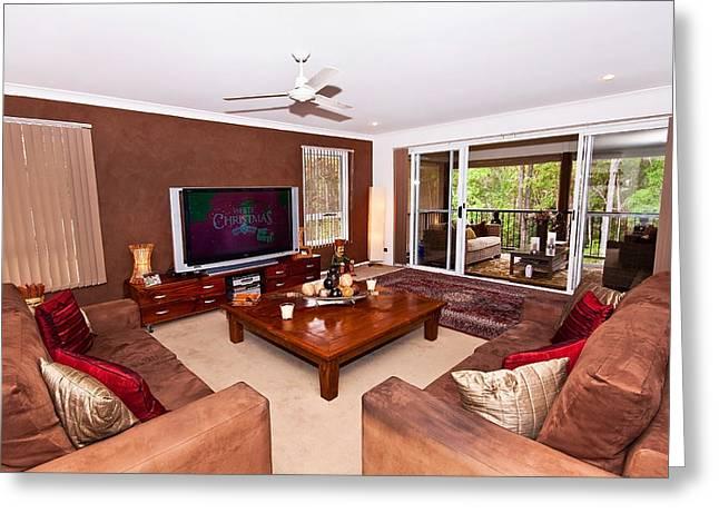Sliding Glass Door Greeting Cards - Brown Living Room Greeting Card by Darren Burton