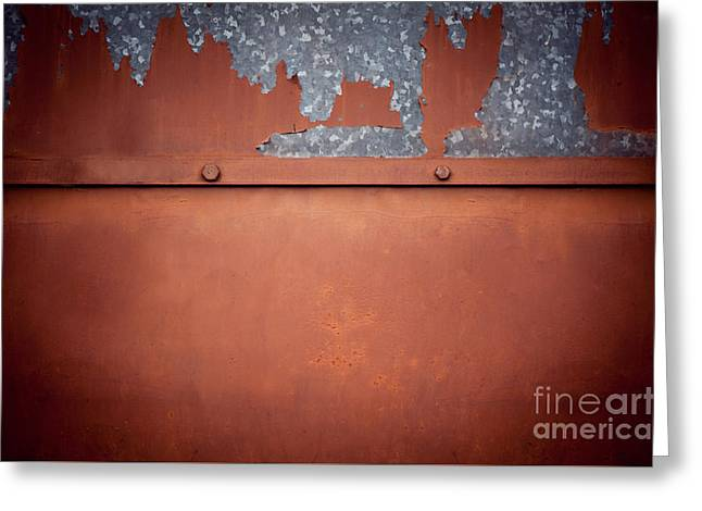 Brown Old Cracked Paint Tin Sheet Metal Texture  Greeting Card by Arletta Cwalina
