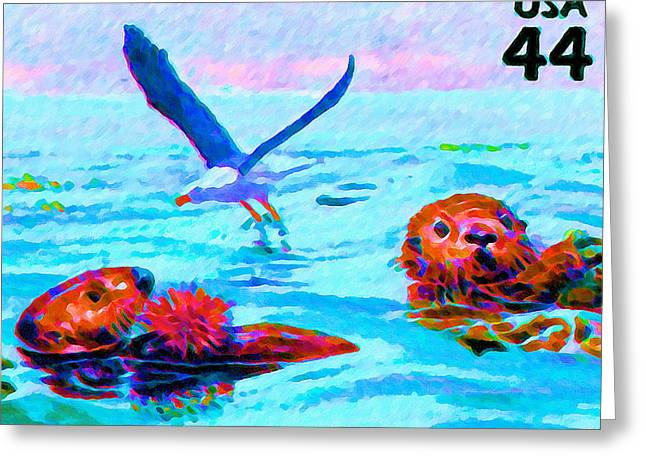 Delivering Paintings Greeting Cards - Brown pelican Western gull Greeting Card by Lanjee Chee