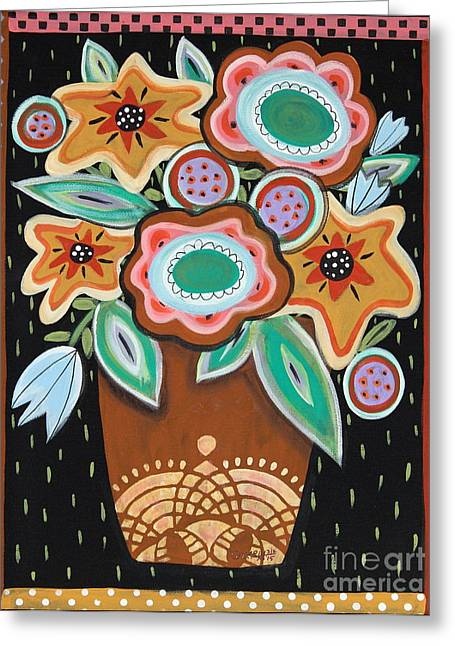 Abstract Vase Flower Print Greeting Cards - Brown Pot Greeting Card by Karla Gerard