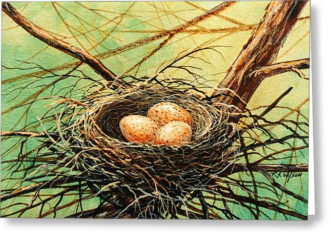 Frank Wilson Greeting Cards - Brown Speckled Eggs Greeting Card by Frank Wilson