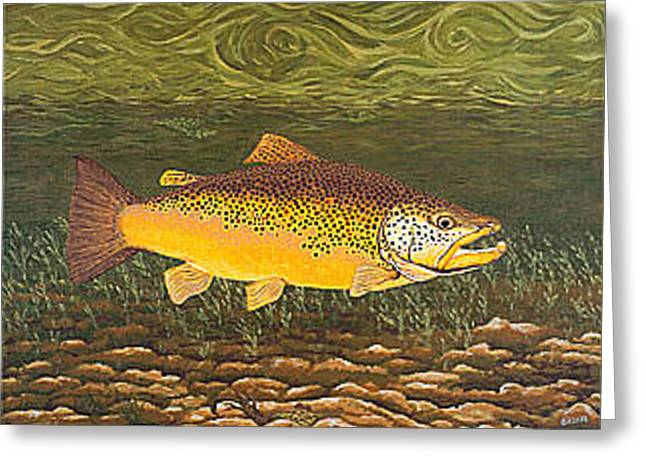 Brown Trout Greeting Cards - Brown Trout Fish Art Print Touch Down Brown Trophy size Football shape Brown Trout Angler Angling Greeting Card by Baslee Troutman