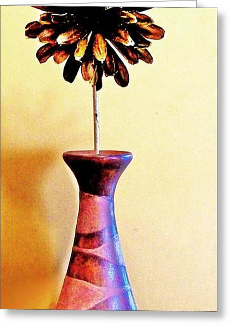 Abstract Vase Flower Print Greeting Cards - Brown Wooden Flower Greeting Card by Marsha Heiken