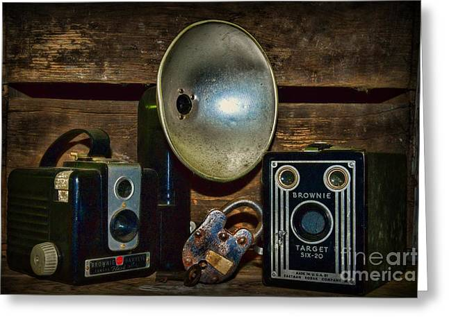 Amateur Photographer Greeting Cards - Brownie Box Cameras Greeting Card by Paul Ward