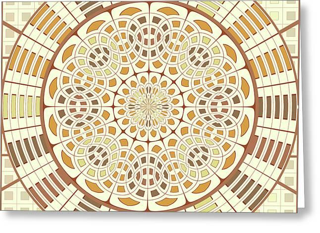Brownish Mandala Greeting Card by Gaspar Avila