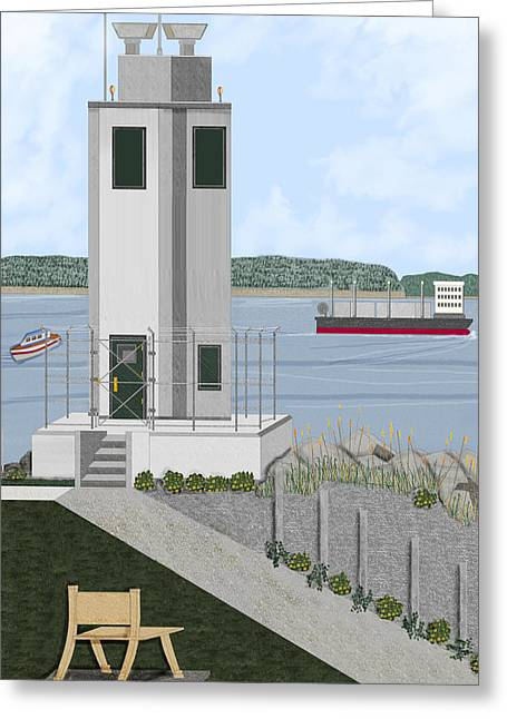 Commencement Bay Greeting Cards - Browns Point Lighthouse on Commencement Bay Greeting Card by Anne Norskog
