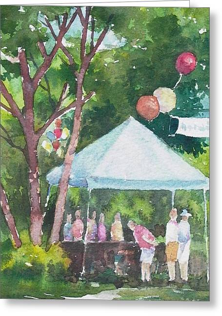 Balloon Vendor Greeting Cards - Browsing the Sale Table Greeting Card by Tina Bohlman