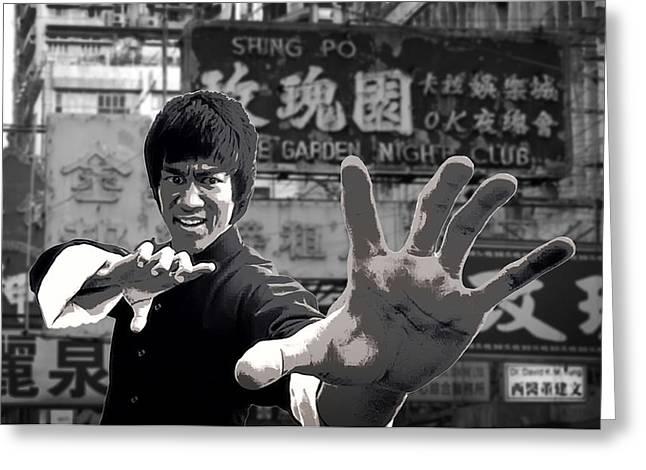 Kowloon Digital Art Greeting Cards - Bruce Lee Founder Of Jeet Kune Do Greeting Card by Daniel Hagerman