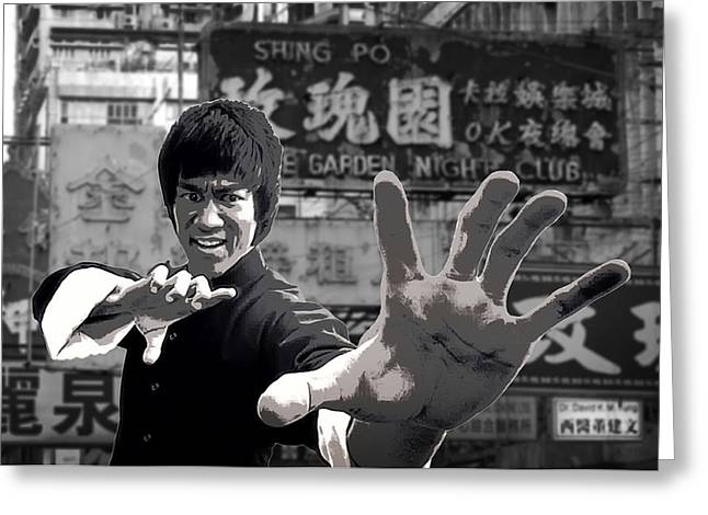 Green Hornets Greeting Cards - Bruce Lee Founder Of Jeet Kune Do Greeting Card by Daniel Hagerman