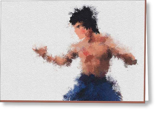 Bruce Lee Greeting Card by Miranda Sether