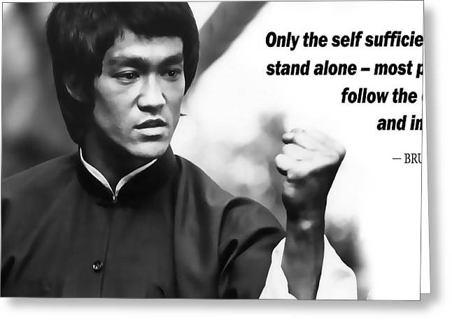 Kowloon Greeting Cards - BRUCE LEE on SELF SUFFICIENCY Greeting Card by Daniel Hagerman