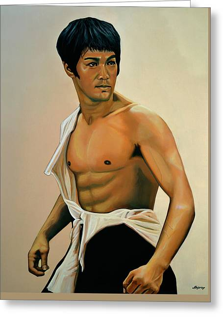 Bruce Lee Painting Greeting Card by Paul Meijering