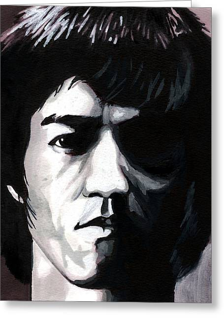 Bruce Lee Portrait Greeting Card by Alban Dizdari