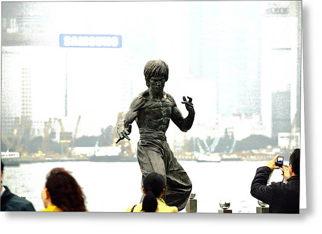 Tsim Greeting Cards - Bruce Lee with 4 Tourists Greeting Card by Manson Lee