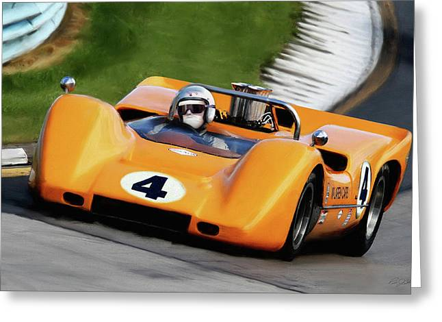 Bruce Mclaren Greeting Card by Peter Chilelli
