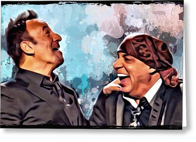 Digital Designs Greeting Cards - Bruce Springsteen and Steven Van Zandt Greeting Card by Scott Wallace