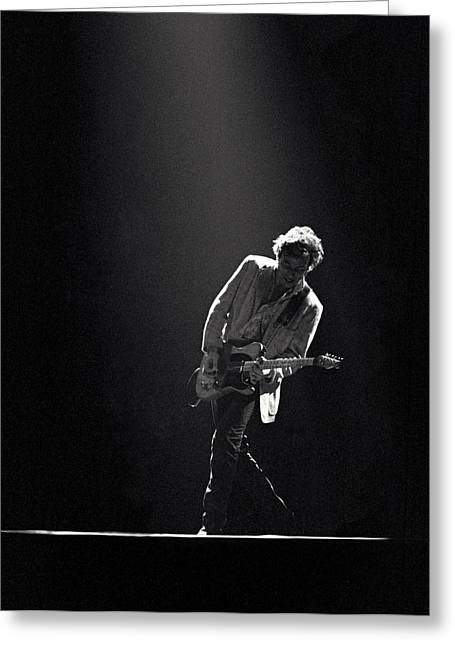 Rock Roll Greeting Cards - Bruce Springsteen in the Spotlight Greeting Card by Mike Norton