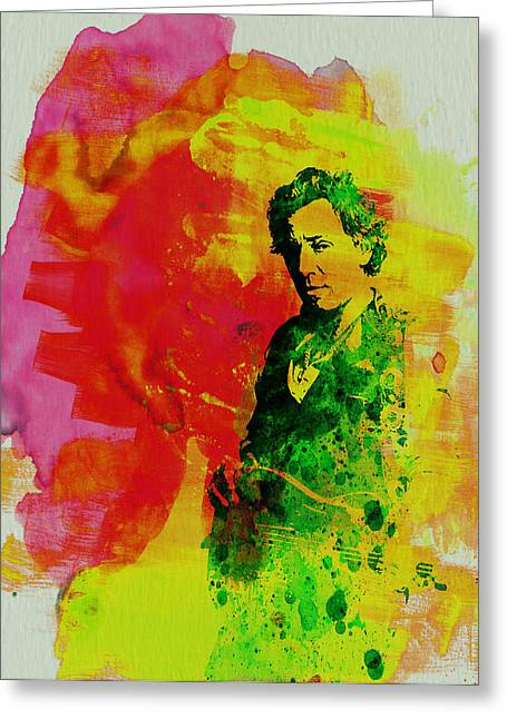 Musicians Paintings Greeting Cards - Bruce Springsteen Greeting Card by Naxart Studio