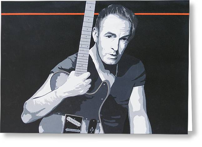 Bruce Springsteen Paintings Greeting Cards - Bruce Springsteen Greeting Card by Ken Jolly