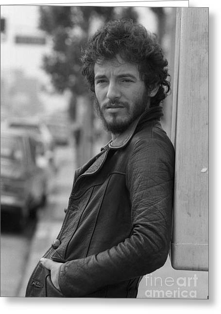 Bruce Springsteen Greeting Card by Terry O'Neill