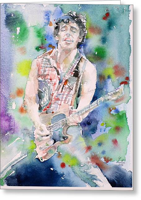 Bruce Springsteen - Watercolor Portrait.4 Greeting Card by Fabrizio Cassetta