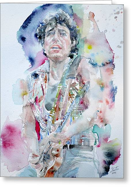 Bruce Springsteen - Watercolor Portrait.5 Greeting Card by Fabrizio Cassetta
