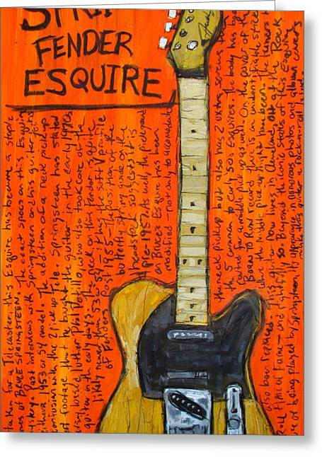 Springsteen Was Born To Run Greeting Cards - Bruce Springsteens Fender Esquire Greeting Card by Karl Haglund