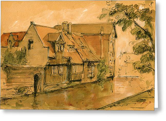 Bruges Greeting Cards - Bruges city watercolor Greeting Card by Juan  Bosco