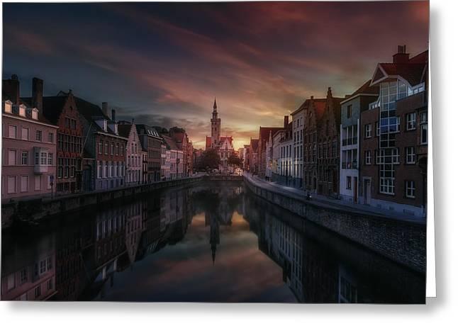 Reflex Greeting Cards - Brugge Greeting Card by Juan Pablo De Miguel