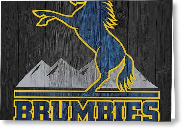 Brumbies Graphic Barn Door Greeting Card by Dan Sproul