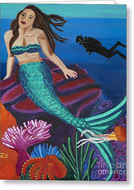 Mermaid Lovers Greeting Cards - Brunette Mermaid with Turquoise Tail Greeting Card by Ashley Baldwin