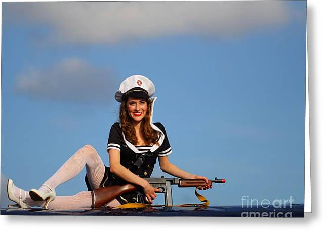 Tommy Gun Greeting Cards - Brunette Navy Girl 2 Greeting Card by Jimmy Ostgard