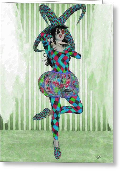 Brunette Woman Jester Greeting Card by Quim Abella