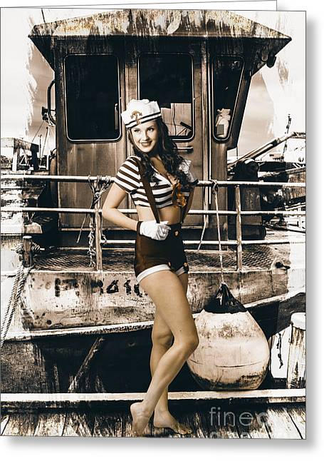 Pin-up Model Greeting Cards - Brunette wwII pinup lady standing by naval boat Greeting Card by Ryan Jorgensen