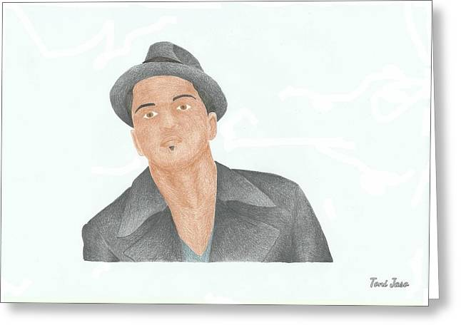 Choreographer Greeting Cards - Bruno Mars Greeting Card by Toni Jaso