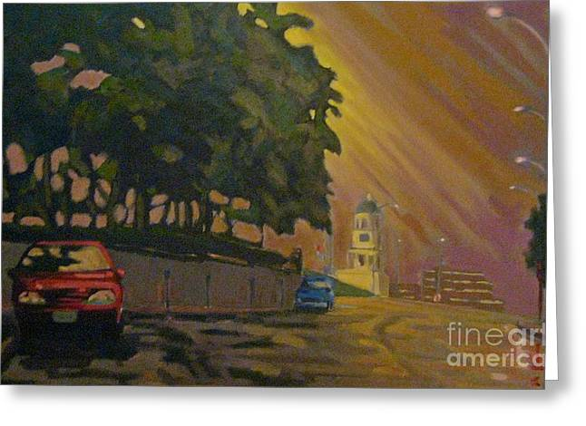 Art In Halifax Greeting Cards - Brunswick Street in The Early Morning Greeting Card by John Malone