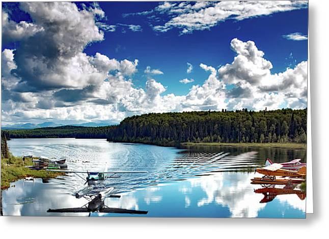 Brush Plane Landing On Fish Lake Alaska Greeting Card by Mountain Dreams