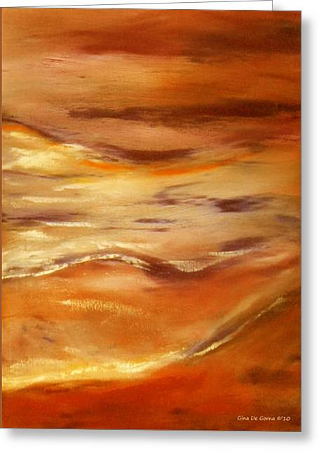 Gorna Greeting Cards - Brushed 5 - Vertical Sunset Greeting Card by Gina De Gorna