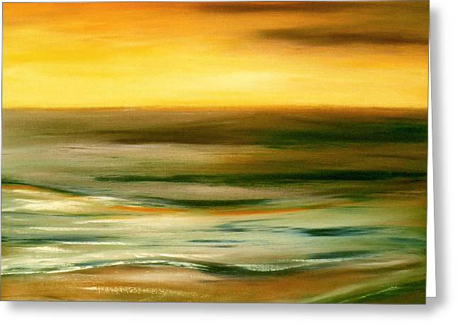 Panoramic Ocean Paintings Greeting Cards - Brushed 7 Greeting Card by Gina De Gorna
