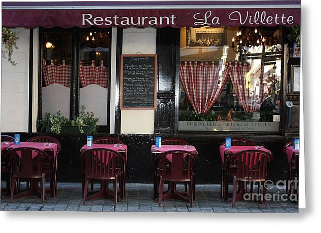 Brussels - Restaurant La Villette Greeting Card by Carol Groenen