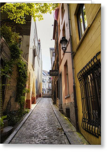 Artist Photographs Greeting Cards - Brussels Back Street Greeting Card by Georgia Fowler