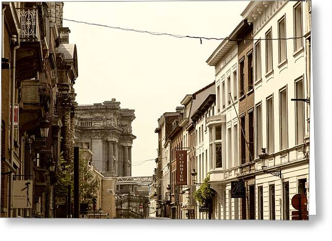 Artist Photographs Greeting Cards - Brussels Buildings Greeting Card by Georgia Fowler